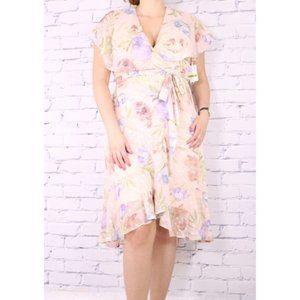 NWT Gabby Skye flowy floral caped midi dress c1
